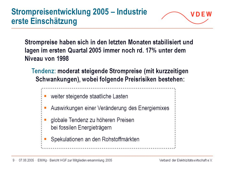 Strompreisentwicklung 2005 – Industrie erste Einschätzung