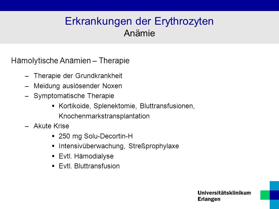Erkrankungen der Erythrozyten Anämie