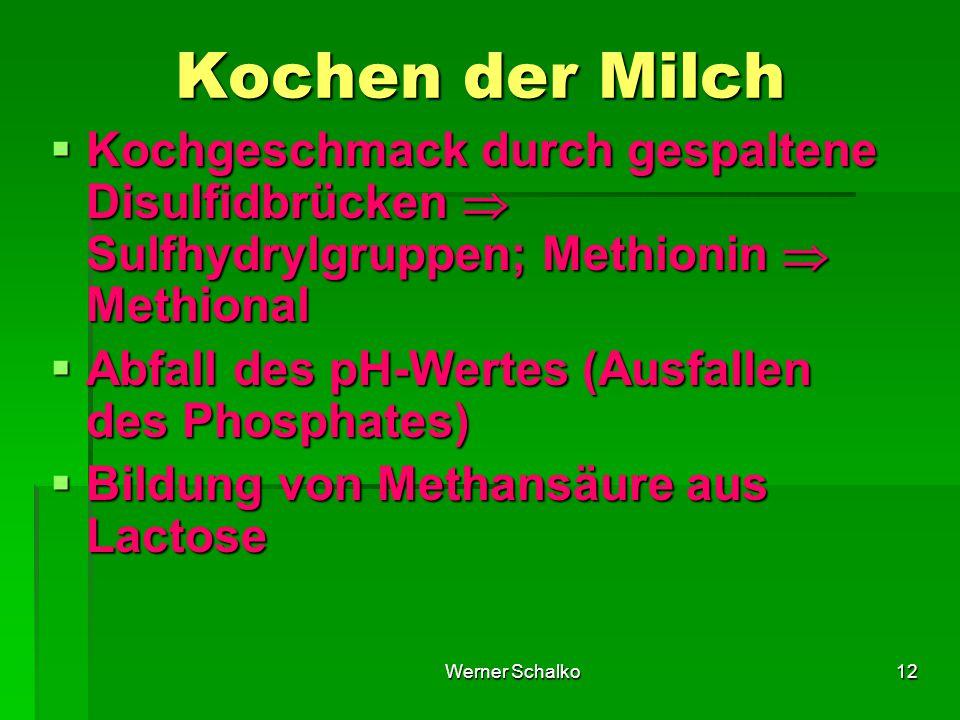 Kochen der Milch Kochgeschmack durch gespaltene Disulfidbrücken  Sulfhydrylgruppen; Methionin  Methional.