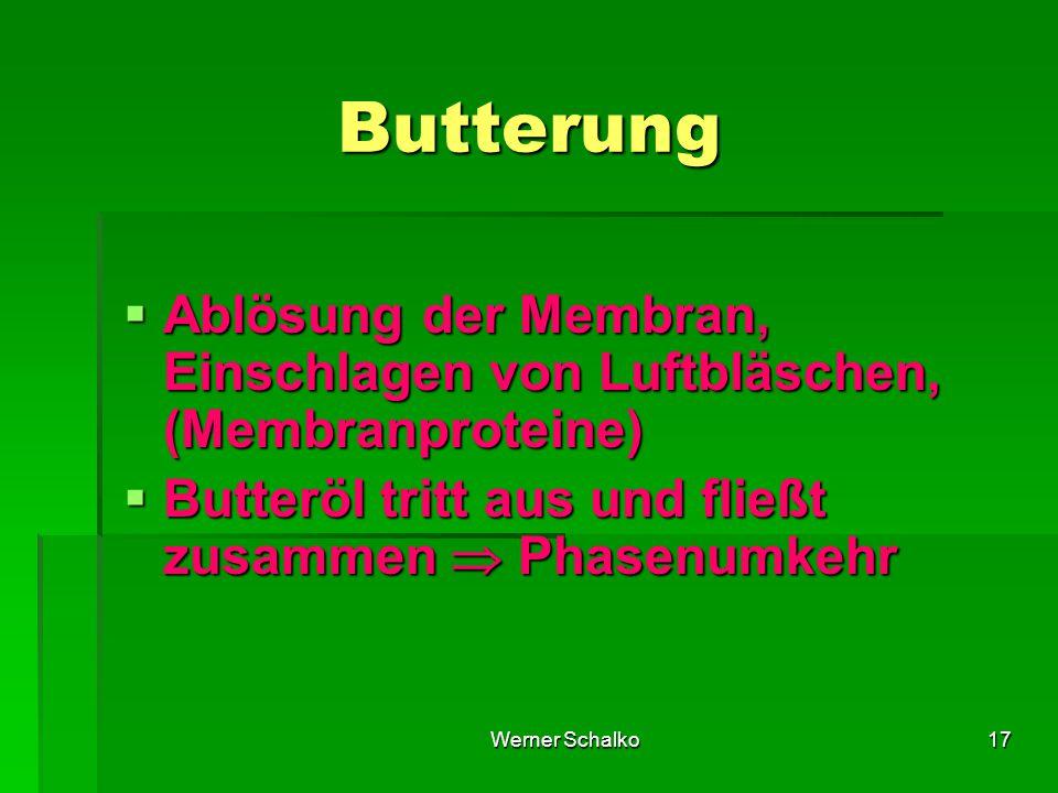 Butterung Ablösung der Membran, Einschlagen von Luftbläschen, (Membranproteine) Butteröl tritt aus und fließt zusammen  Phasenumkehr.