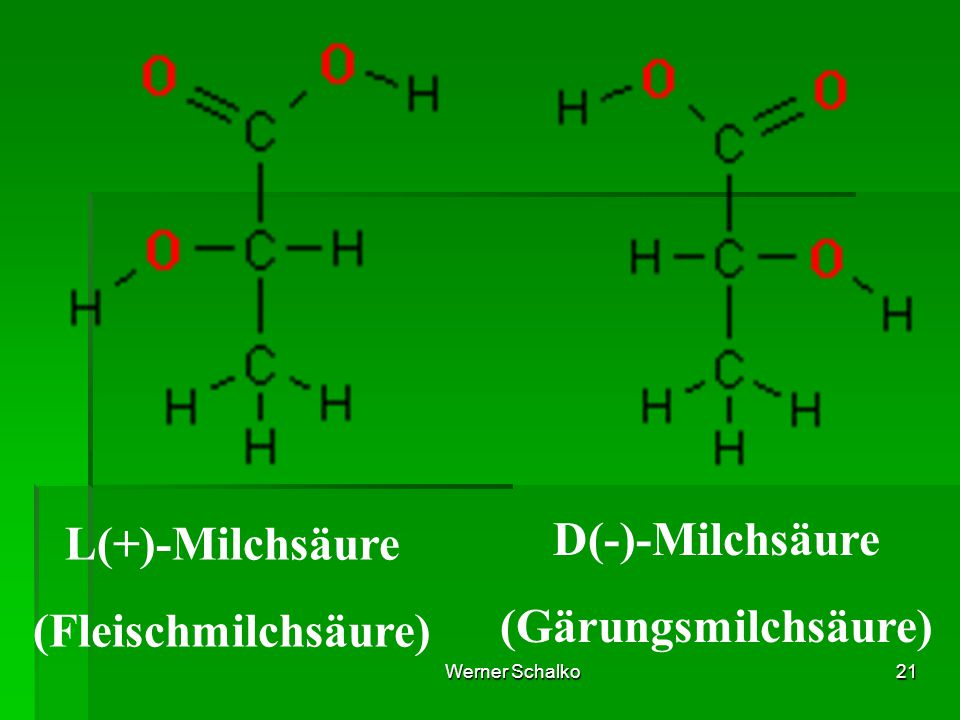 L(+)-Milchsäure D(-)-Milchsäure (Gärungsmilchsäure)
