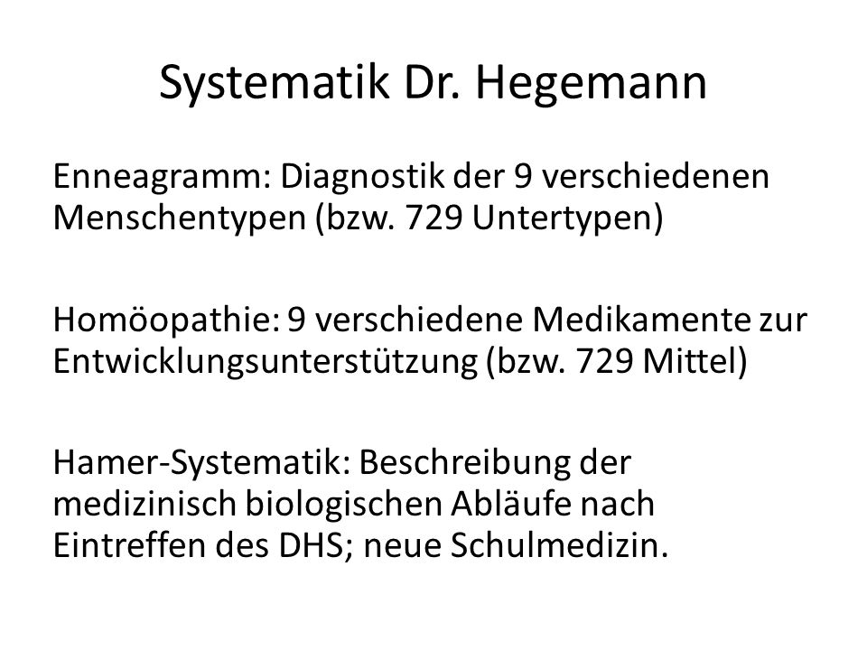 Systematik Dr. Hegemann