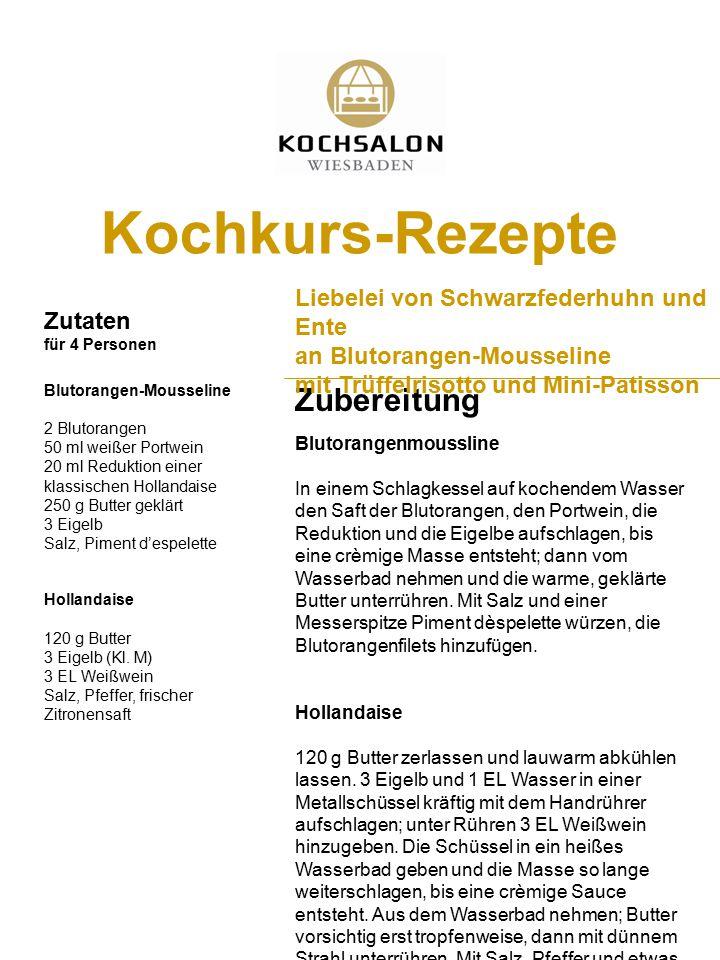 Kochkurs-Rezepte Zubereitung Liebelei von Schwarzfederhuhn und Ente