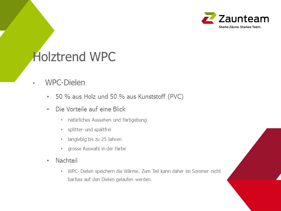 Holztrend WPC 50 % aus Holz und 50 % aus Kunststoff (PVC)