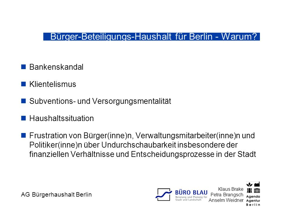 Bürger-Beteiligungs-Haushalt für Berlin - Warum