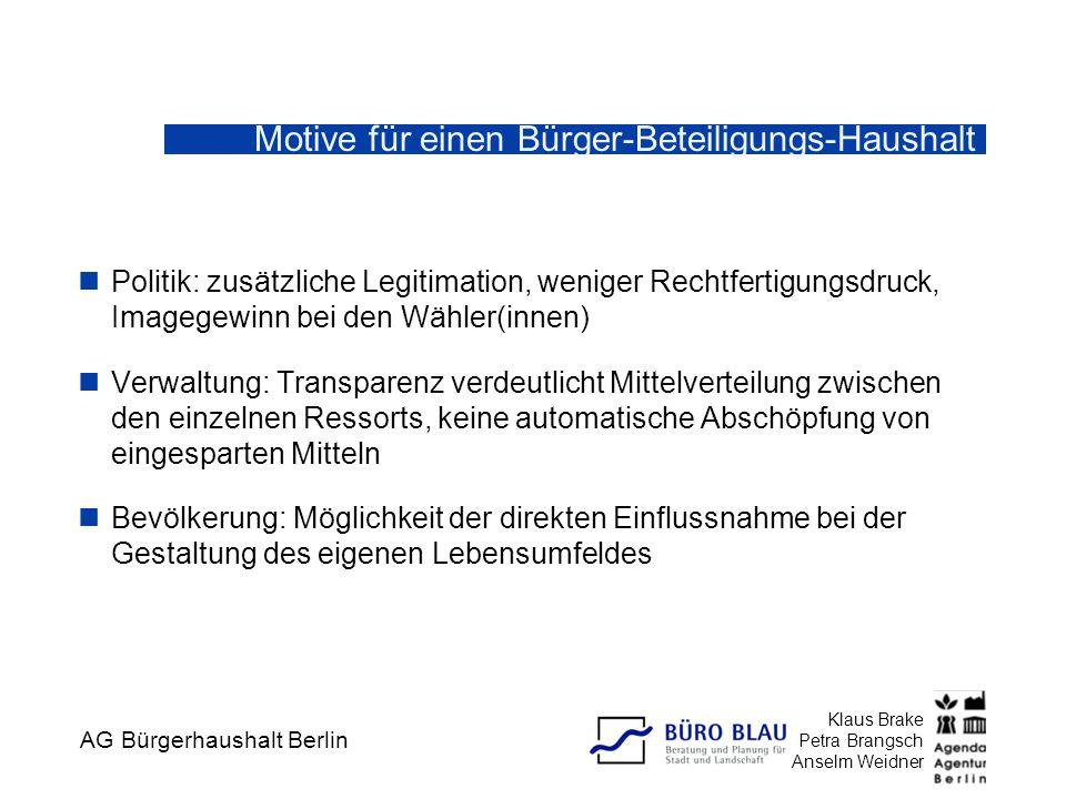 Motive für einen Bürger-Beteiligungs-Haushalt