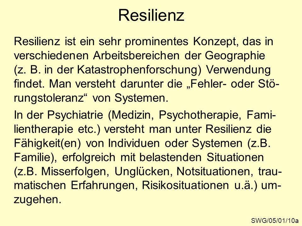 Resilienz Resilienz ist ein sehr prominentes Konzept, das in