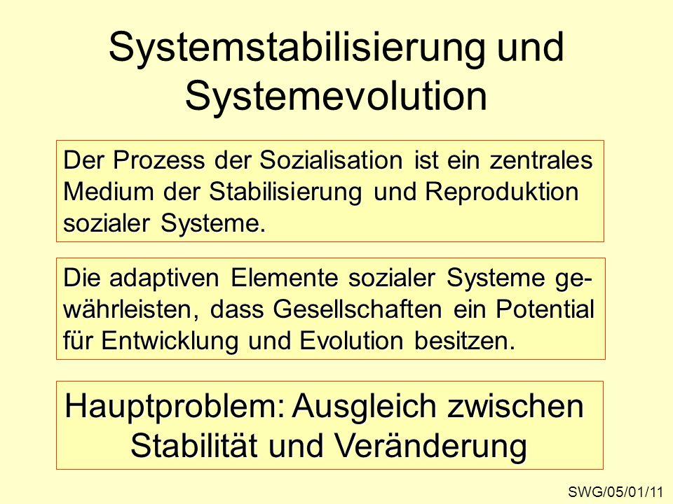 Systemstabilisierung und Systemevolution