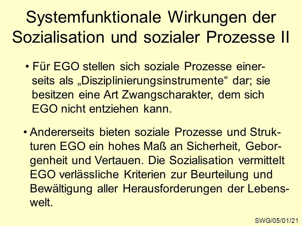 Systemfunktionale Wirkungen der Sozialisation und sozialer Prozesse II