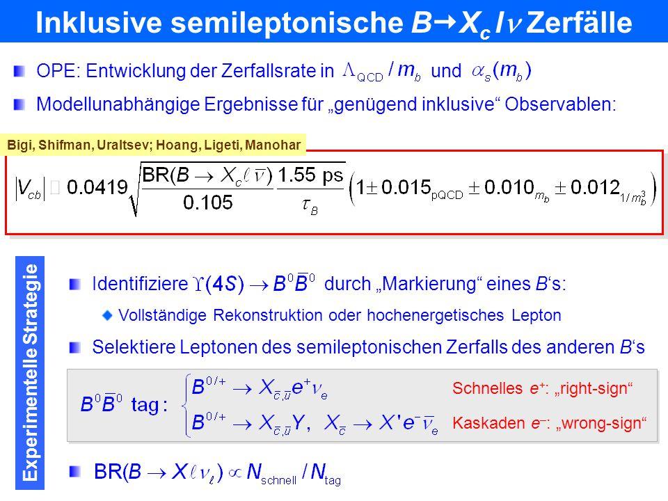 Inklusive semileptonische BXc l Zerfälle