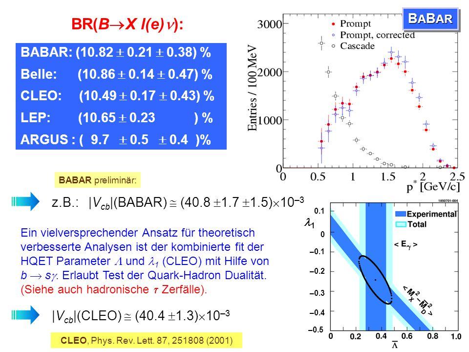 BR(BX l(e)): BABAR BABAR: (10.82  0.21  0.38) %
