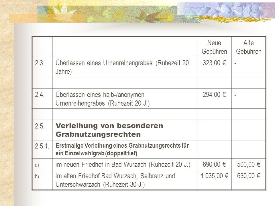 Überlassen eines Urnenreihengrabes (Ruhezeit 20 Jahre) 323,00 € -