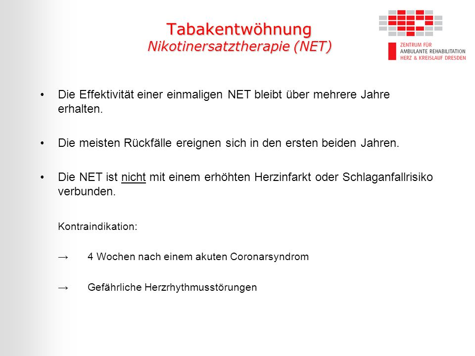 Tabakentwöhnung Nikotinersatztherapie (NET)