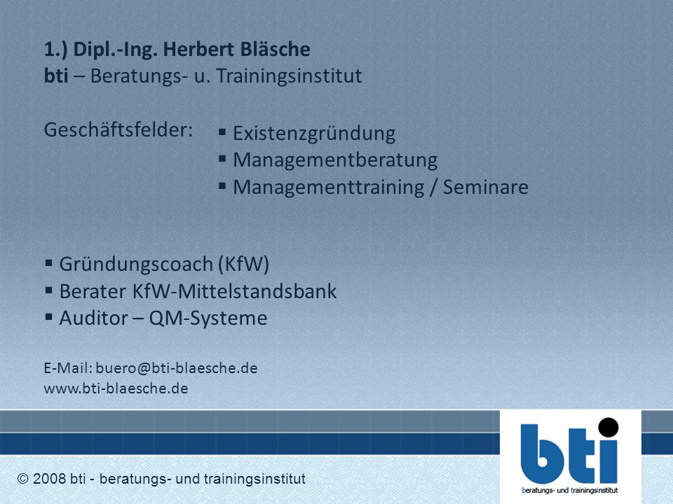 Berater KfW-Mittelstandsbank Auditor – QM-Systeme Existenzgründung