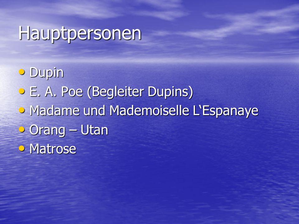 Hauptpersonen Dupin E. A. Poe (Begleiter Dupins)