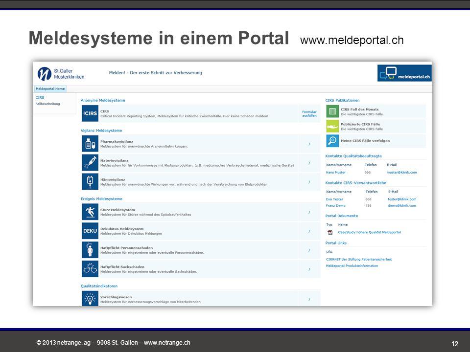 Meldesysteme in einem Portal www.meldeportal.ch
