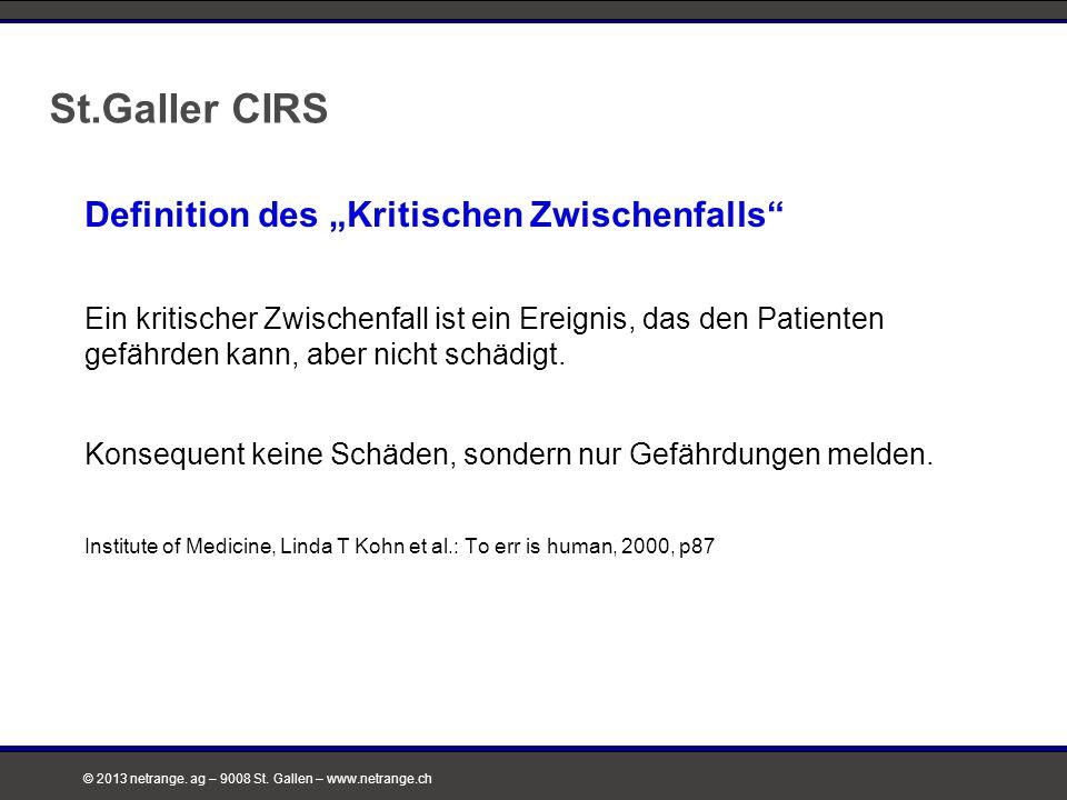 """St.Galler CIRS Definition des """"Kritischen Zwischenfalls"""