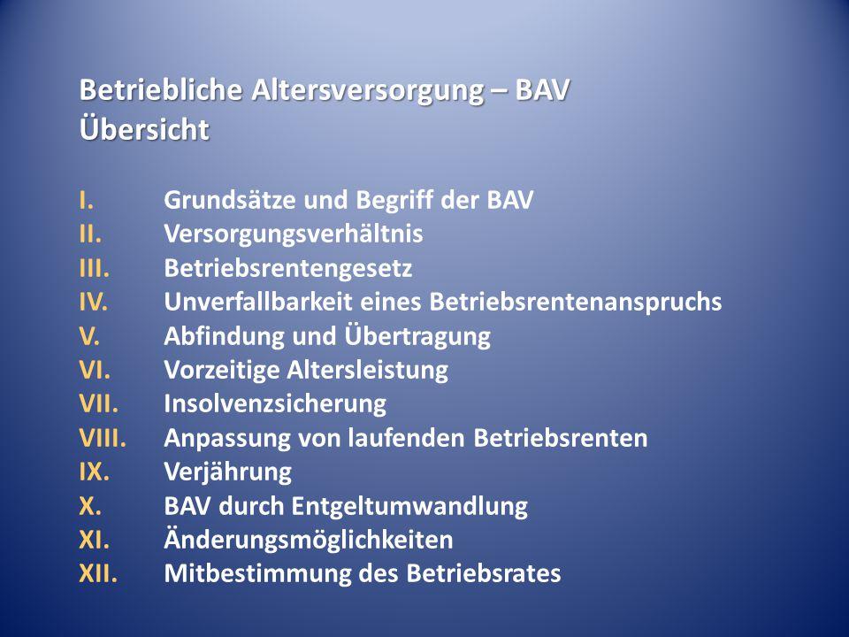 Betriebliche Altersversorgung – BAV Übersicht