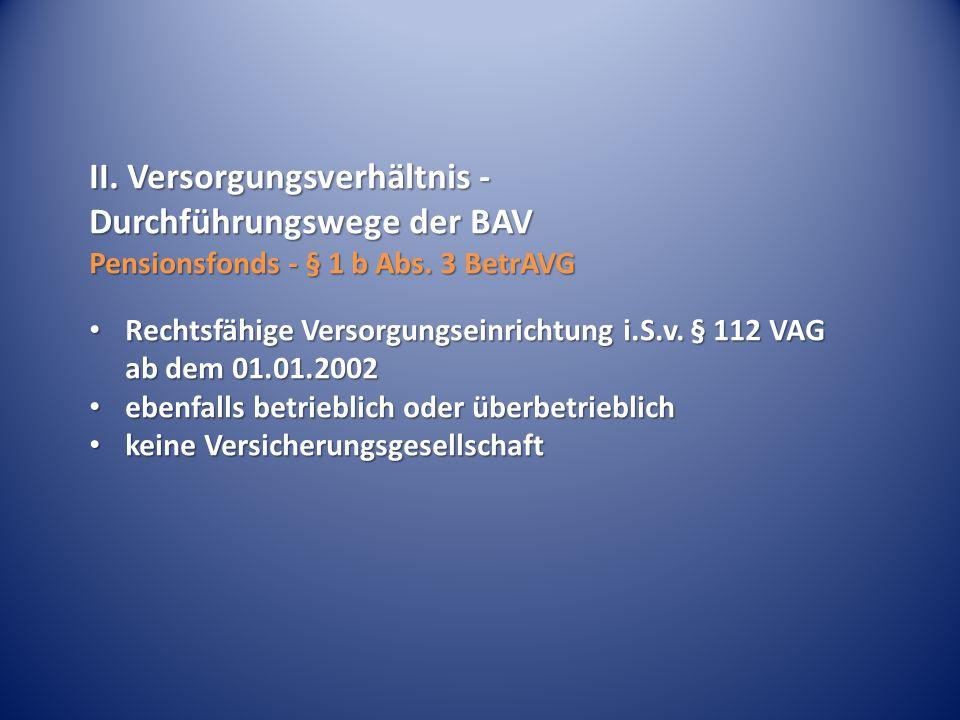 II. Versorgungsverhältnis - Durchführungswege der BAV