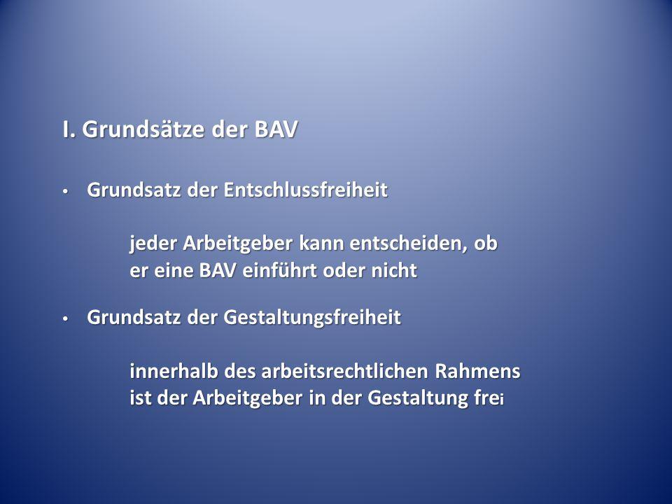 I. Grundsätze der BAV jeder Arbeitgeber kann entscheiden, ob