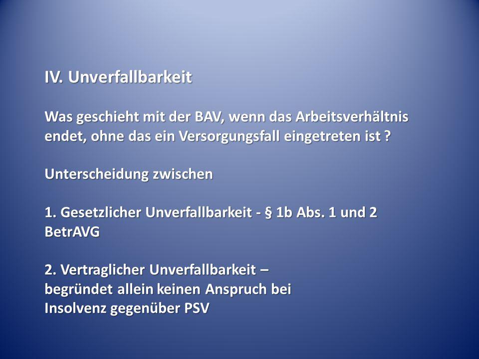 IV. Unverfallbarkeit Was geschieht mit der BAV, wenn das Arbeitsverhältnis endet, ohne das ein Versorgungsfall eingetreten ist