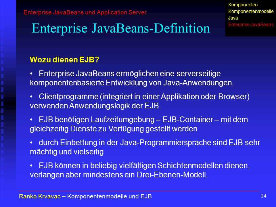 Enterprise JavaBeans-Definition