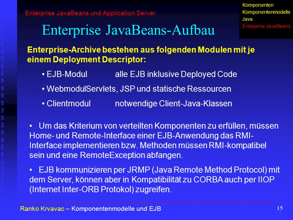 Enterprise JavaBeans-Aufbau