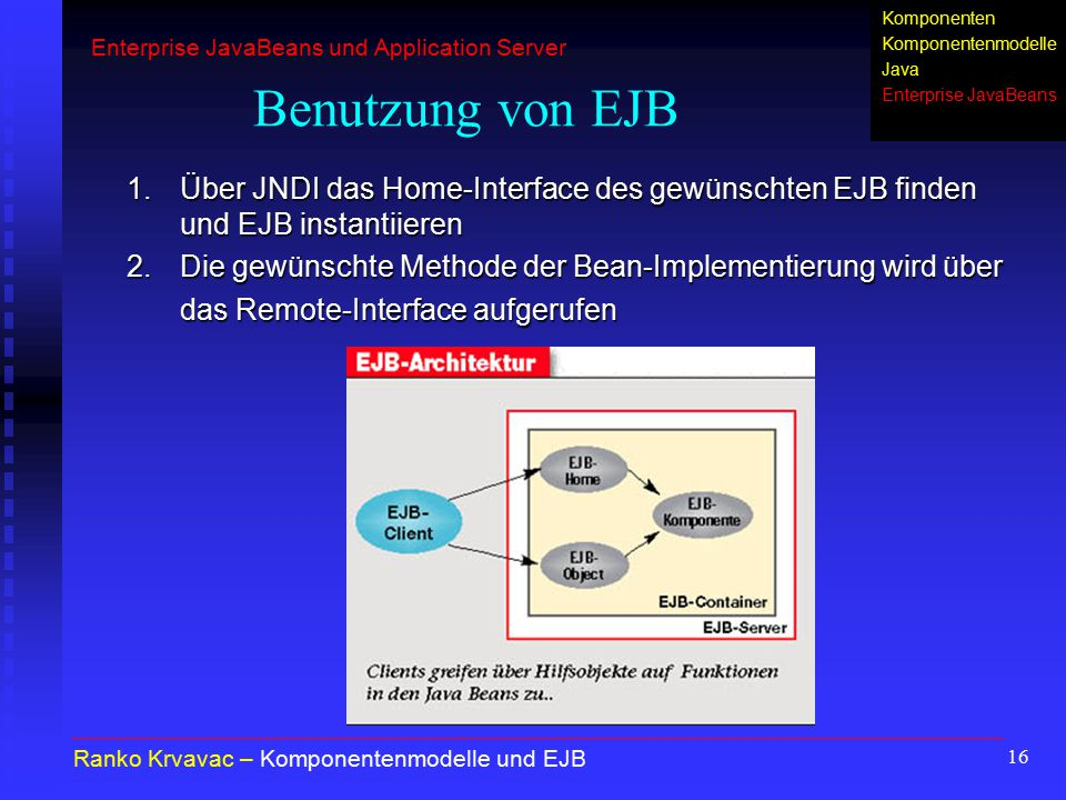 Komponenten KomponentenmodelleJava. Enterprise JavaBeans. Enterprise JavaBeans und Application Server.