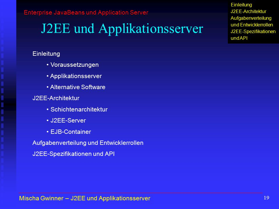 J2EE und Applikationsserver