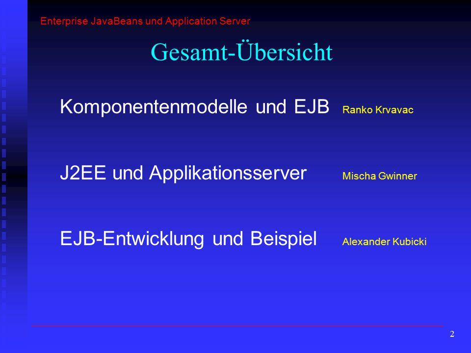 Gesamt-Übersicht Komponentenmodelle und EJB Ranko Krvavac