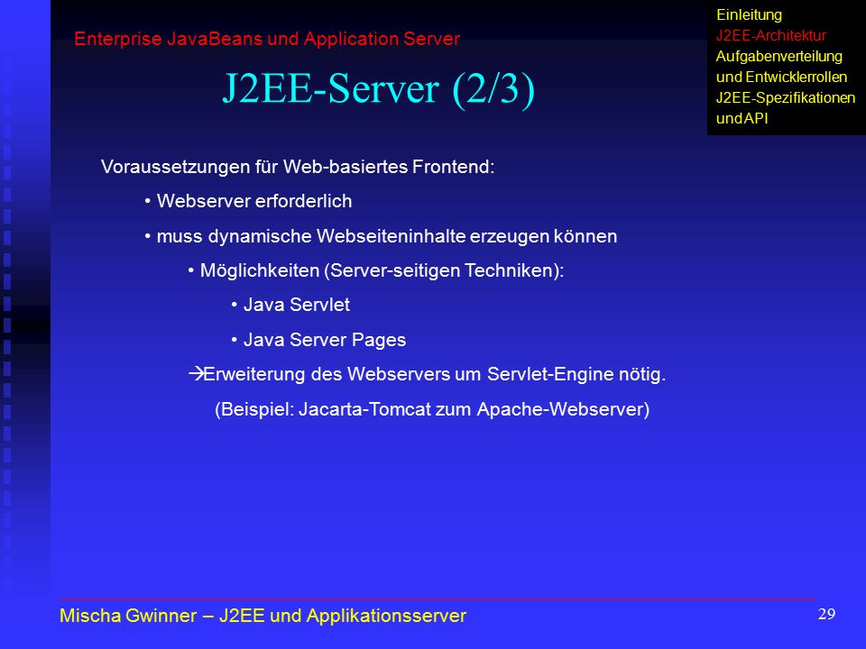 J2EE-Server (2/3) Enterprise JavaBeans und Application Server
