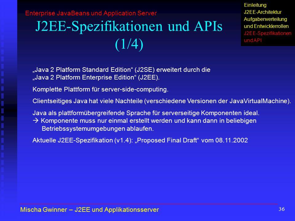 J2EE-Spezifikationen und APIs (1/4)
