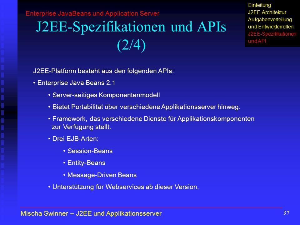 J2EE-Spezifikationen und APIs (2/4)