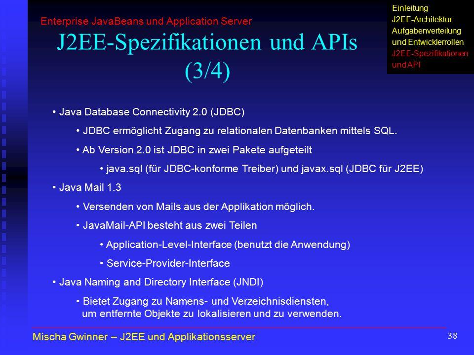 J2EE-Spezifikationen und APIs (3/4)