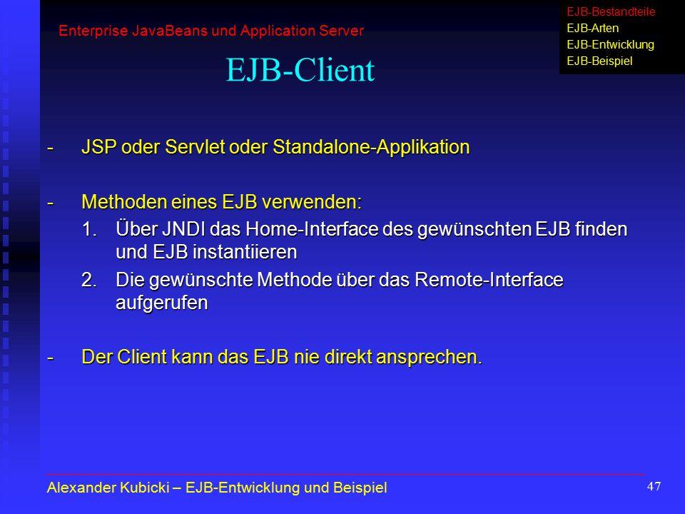 EJB-Client - JSP oder Servlet oder Standalone-Applikation