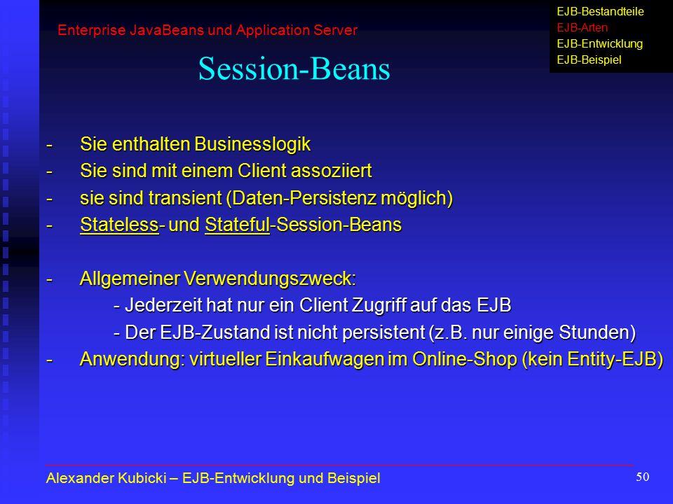Session-Beans - Sie enthalten Businesslogik