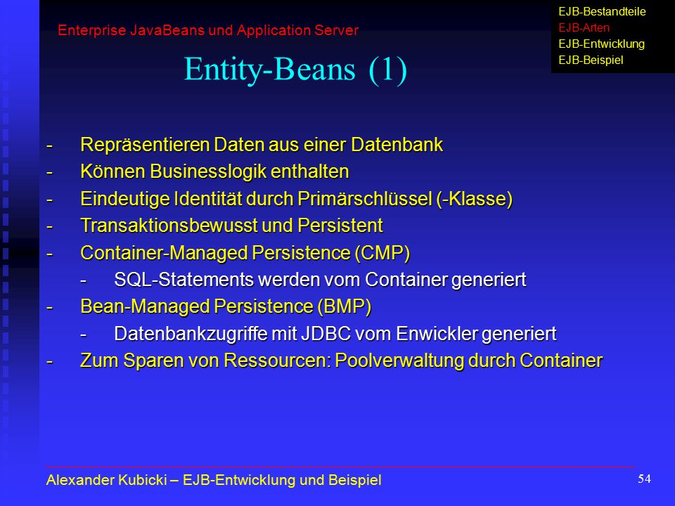 Entity-Beans (1) - Repräsentieren Daten aus einer Datenbank