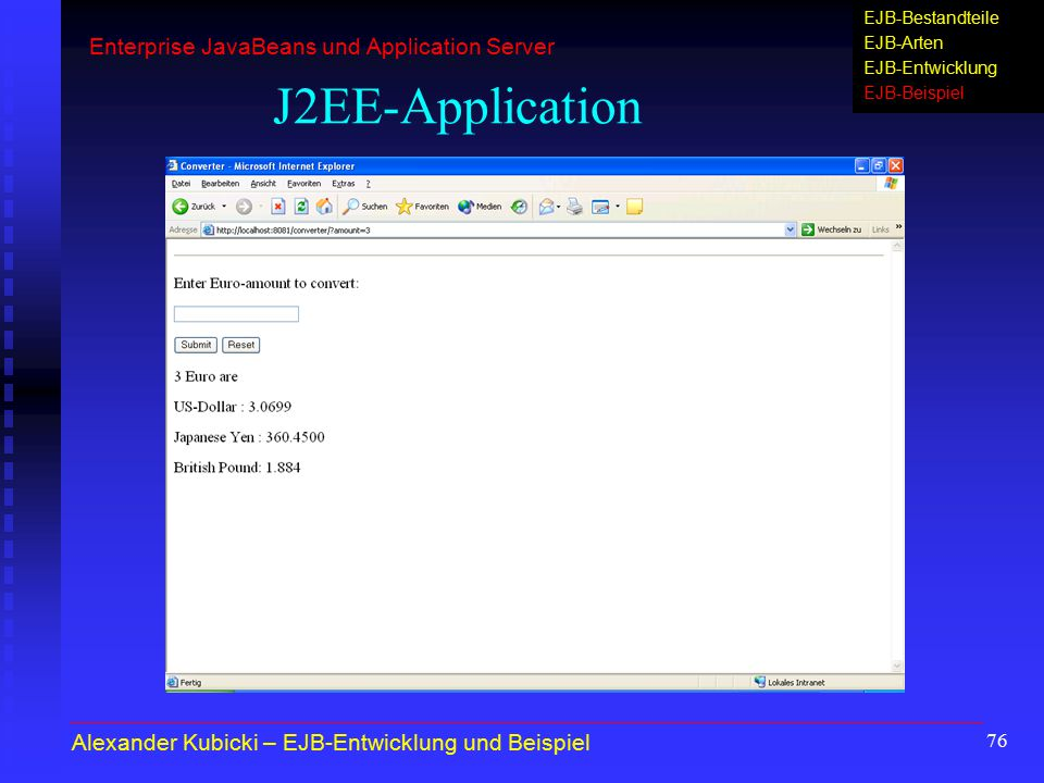 J2EE-Application Enterprise JavaBeans und Application Server