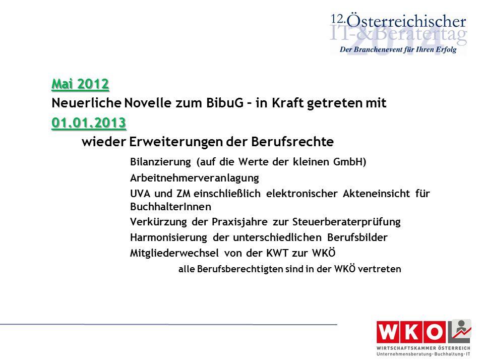 Neuerliche Novelle zum BibuG – in Kraft getreten mit 01.01.2013