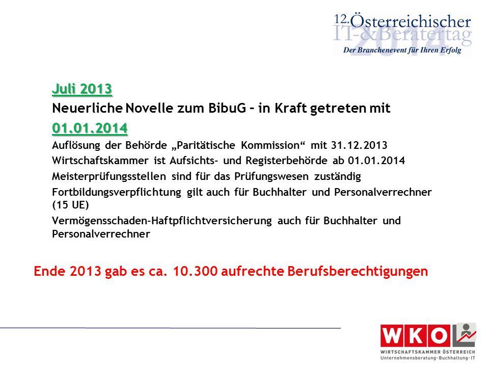 Neuerliche Novelle zum BibuG – in Kraft getreten mit 01.01.2014