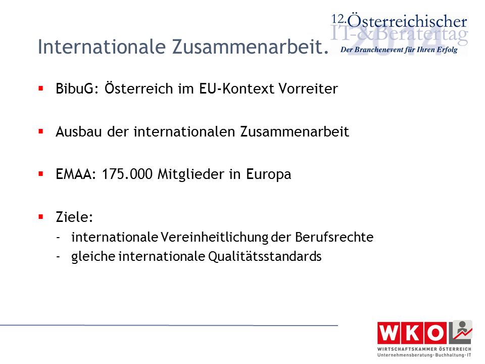 Internationale Zusammenarbeit.