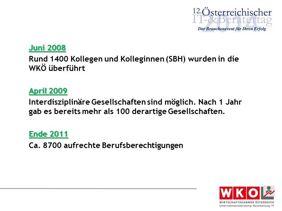 Rund 1400 Kollegen und Kolleginnen (SBH) wurden in die WKÖ überführt