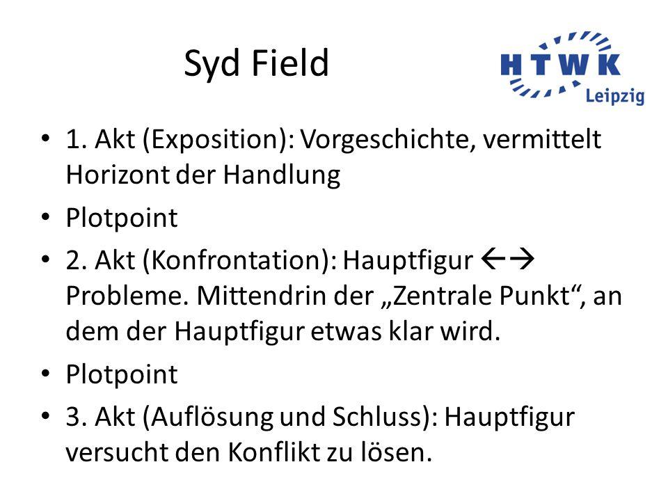 Syd Field 1. Akt (Exposition): Vorgeschichte, vermittelt Horizont der Handlung. Plotpoint.