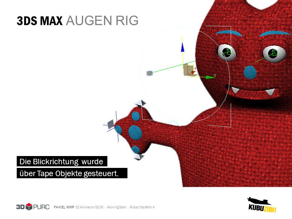 3DS MAX AUGEN RIG Die Blickrichtung wurde über Tape Objekte gesteuert.