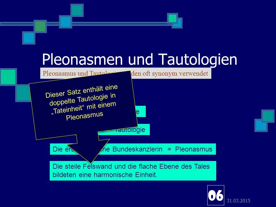 Pleonasmen und Tautologien