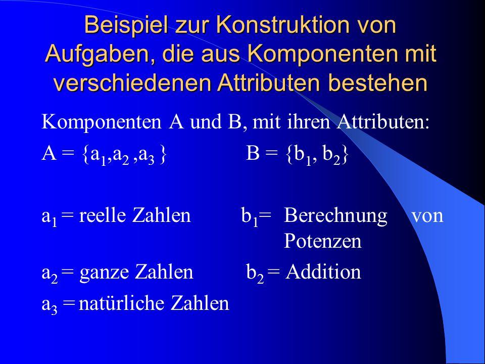 Beispiel zur Konstruktion von Aufgaben, die aus Komponenten mit verschiedenen Attributen bestehen