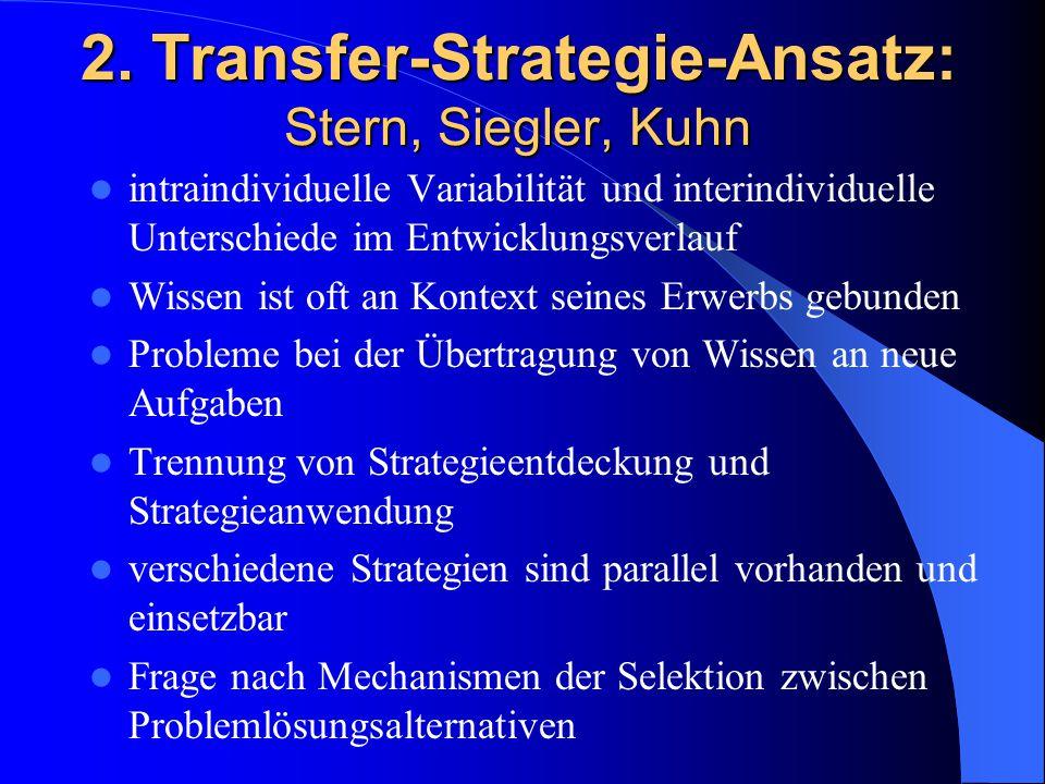 2. Transfer-Strategie-Ansatz: Stern, Siegler, Kuhn