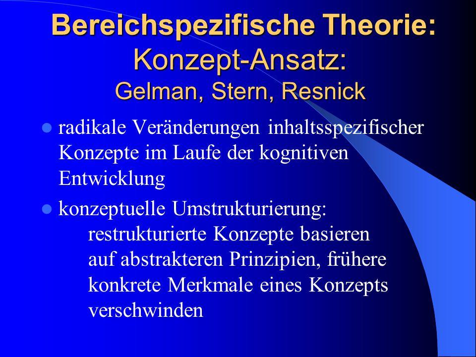 Bereichspezifische Theorie: Konzept-Ansatz: Gelman, Stern, Resnick