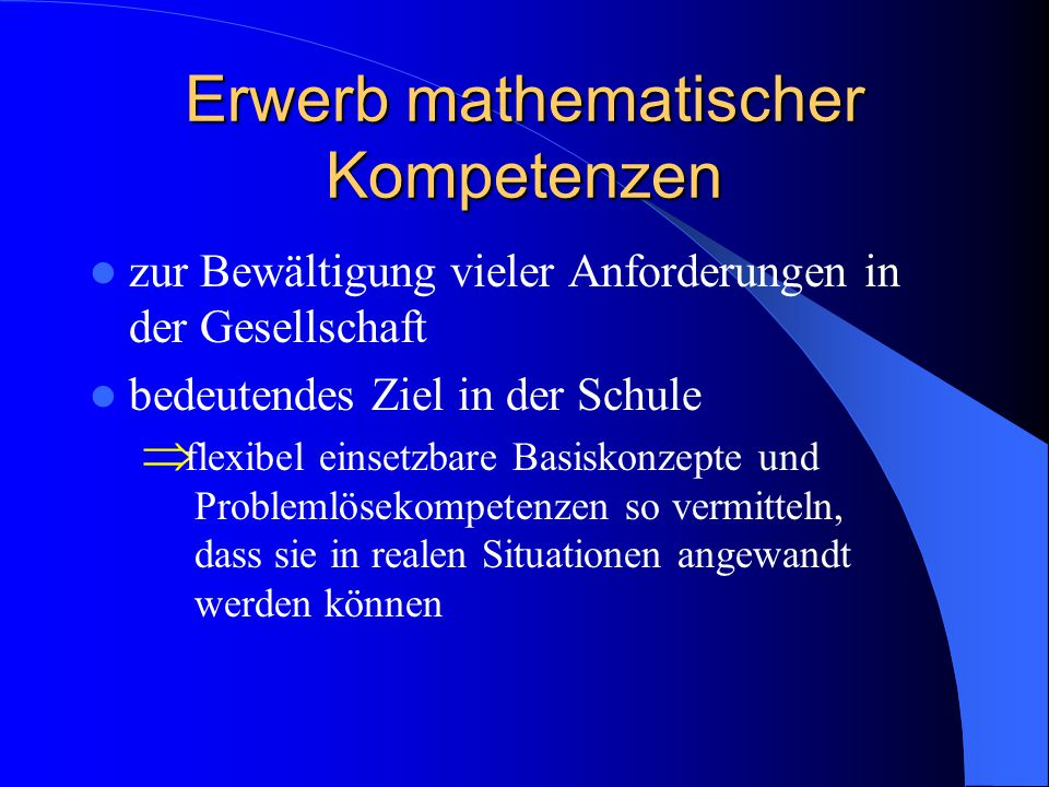 Erwerb mathematischer Kompetenzen