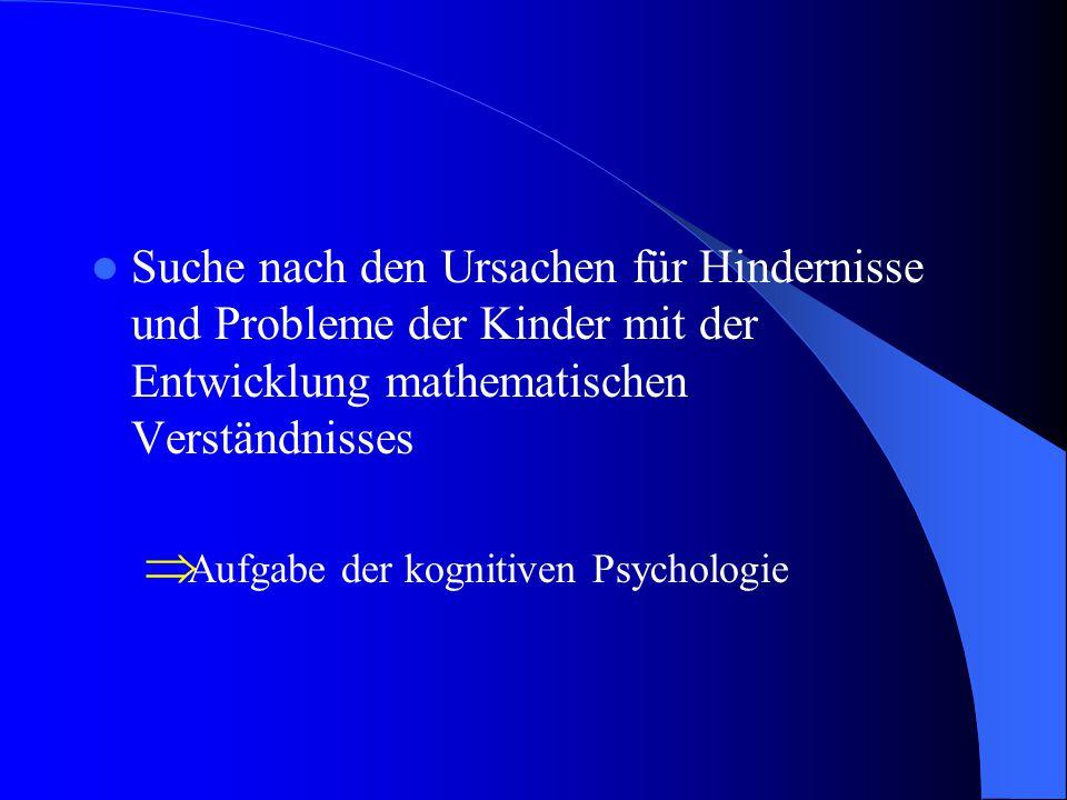 Suche nach den Ursachen für Hindernisse und Probleme der Kinder mit der Entwicklung mathematischen Verständnisses